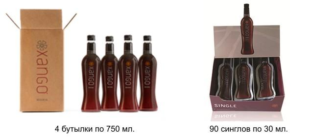 Сок Ксанго в бутылках и синглах